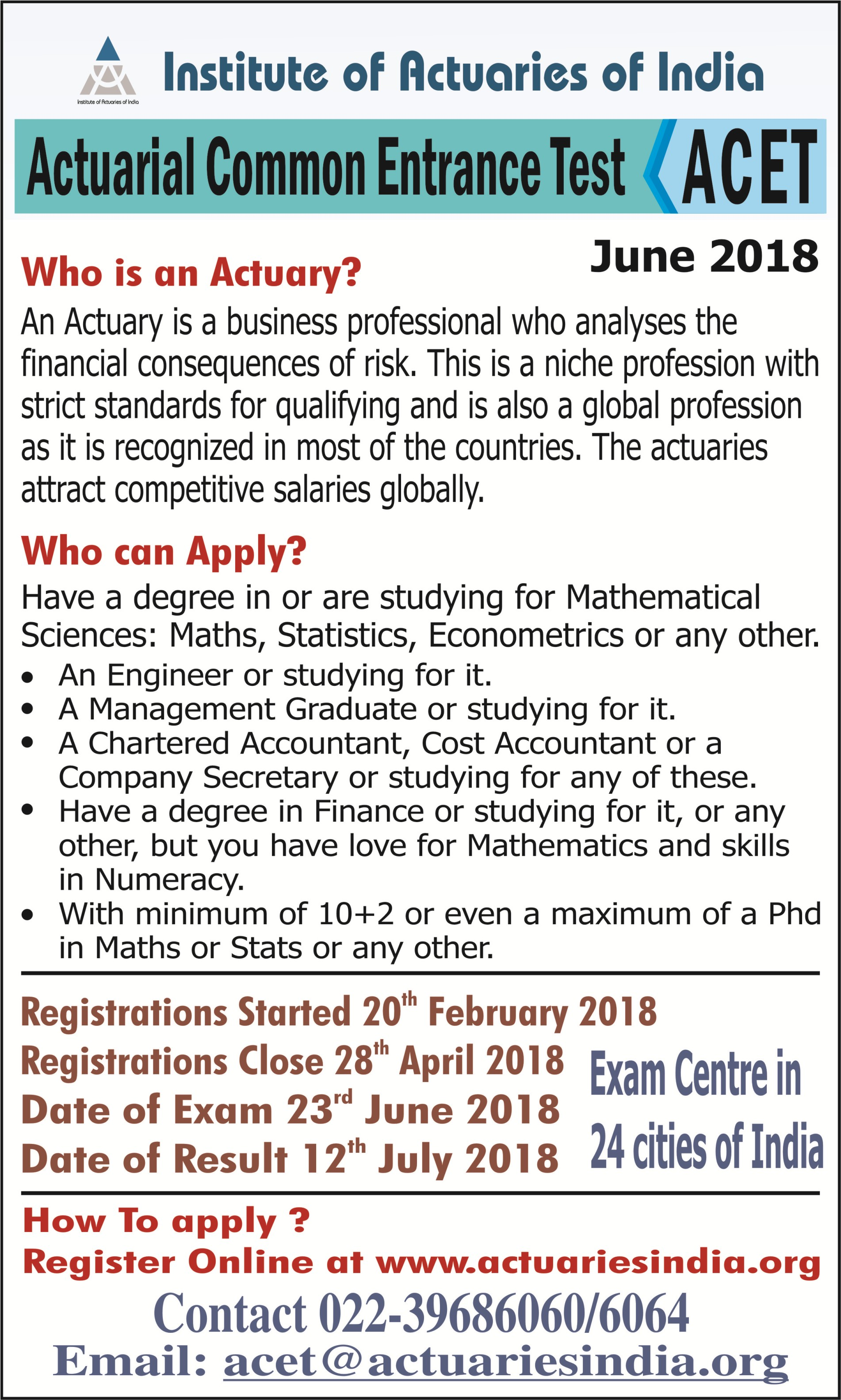 acet exam actuary banner